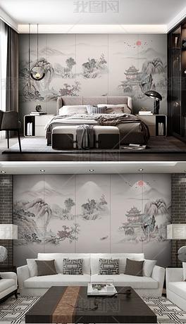 简约复古意境中国风新中式水墨山水画卧室背景墙