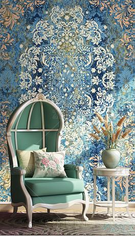 欧式大马士革图案巴洛克风壁纸刺绣墙纸客厅墙布