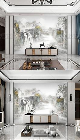 新中式石纹山水背景墙