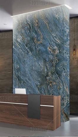 大幅轻奢现代高清蓝色大理石纹复式楼玄关背景墙