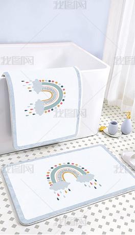 北欧可爱卡通网红爱马仕彩虹浴室卫生间地垫地毯