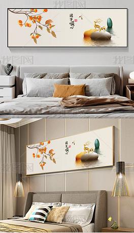 现代新中式抽象事事如意石来运转卧室床头画2