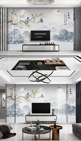 精品花鸟系列新中式手绘花鸟意境山水电视背景墙