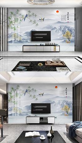 精品花鸟系列新中式竹子小鸟意境山水电视背景墙