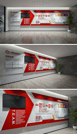 大气时尚红色企业文化墙办公室公司简介宣传栏