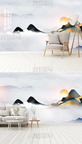 大气轻奢山水画新中式古典水墨山水电视背景墙