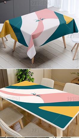 莫兰迪波普浓彩几何色块麋鹿桌布茶几垫台布