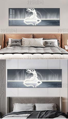 轻奢抽象高级感现代意境线条麋鹿横版装饰画