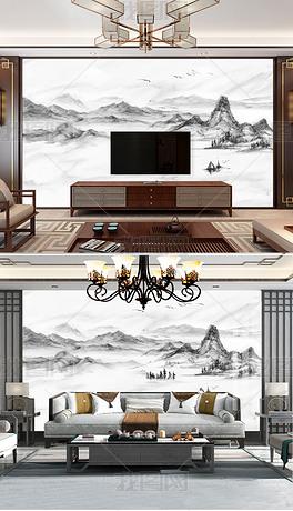现代简约新中式大理石纹意境水墨山水电视背景墙