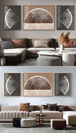 抽象意境线条现代轻奢高级感客厅装饰画2