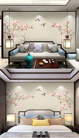 新中式手绘玉兰工笔花鸟电视背景墙装饰画