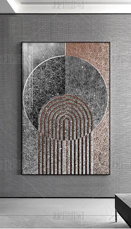 轻奢抽象意境线条玄关装饰画客厅1