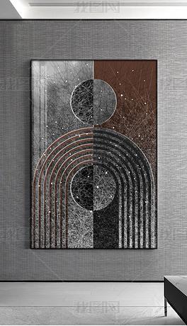 现代抽象几何线条轻奢黑白线条客厅装饰画2