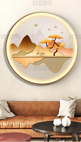 背靠金山玄关客厅创意led灯发光圆形装饰画3