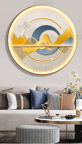 背靠金山玄关客厅创意led灯发光圆形装饰画7
