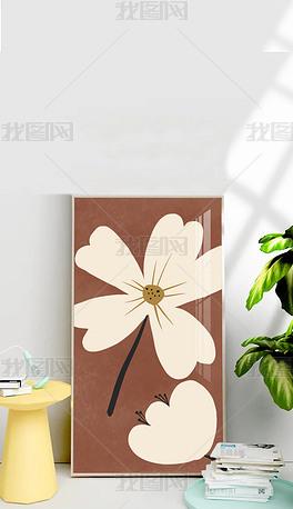 原创北欧现代简约小清新日式轻奢餐厅花卉装饰画