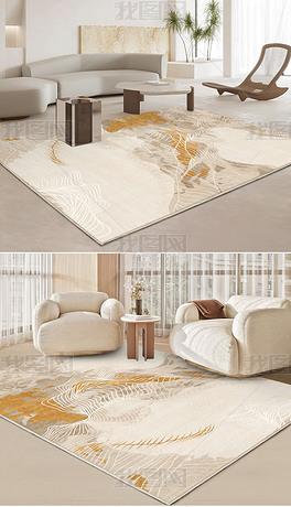 现代新中式抽象金色水墨线条地毯地垫图案设计
