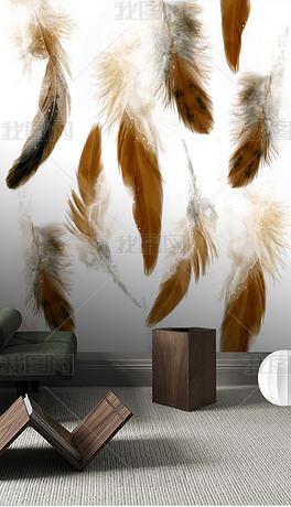 现代时尚手绘咖啡色羽毛背景墙装饰画