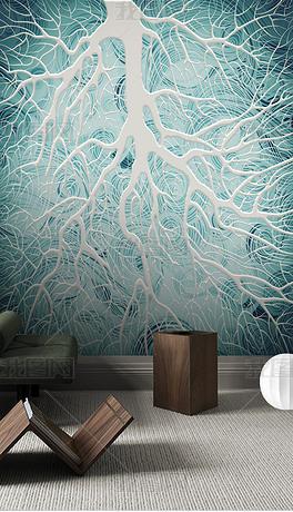 现代时尚抽象手绘蓝色背景唯美树枝背景墙装饰画