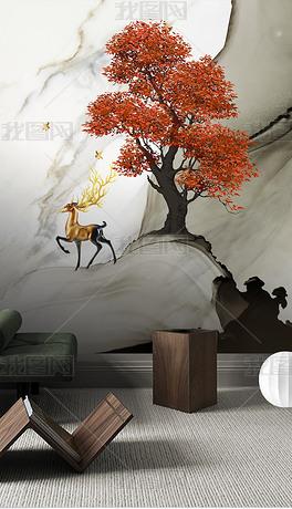 现代轻奢手绘发财树麋鹿背景墙装饰画