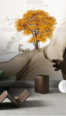 现代时尚轻奢手绘金色大树麋鹿背景墙装饰画
