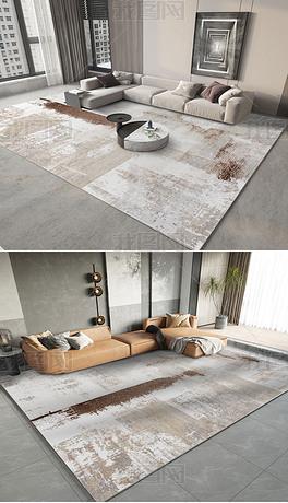 现代抽象水墨复古轻奢宅寂床边客厅几何地毯地垫
