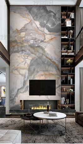 高级灰石材复式背景墙