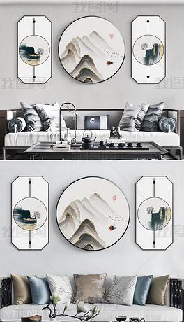 新中式现代简约手绘民俗山水客厅装饰画3
