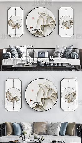 新中式现代简约手绘民俗山水客厅装饰画4