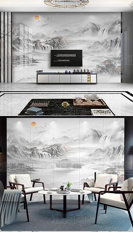 现代轻奢新中式石纹山水背景墙