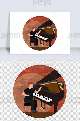 音乐节扁平化矢量钢琴乐器图标元素