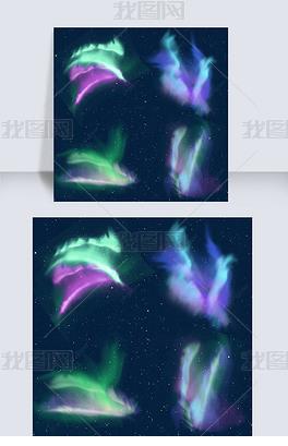 梦幻的紫色和绿色极光光效
