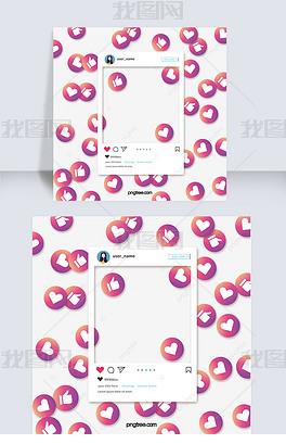 渐变爱心喜欢instagram社交边框照片