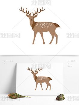 可爱棕色梅花鹿矢量元素