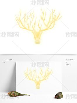 清新黄色小鹿装饰元素