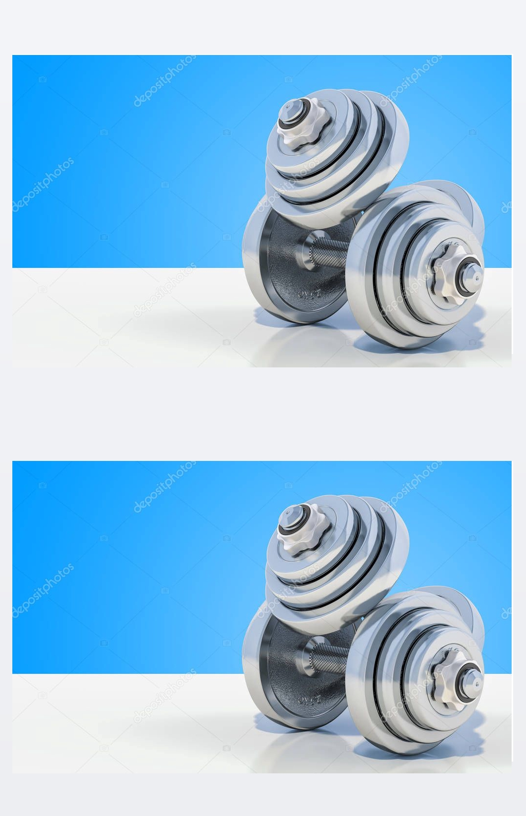 Dumbbells on the desk, 3D rendering