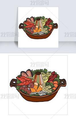 插画类清汤火锅图