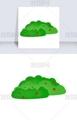 手绘绿油油的草丛红色果实
