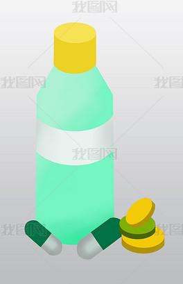 卡通绿色药瓶插画